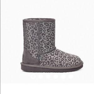 NWT UGG authentic classic II glitter grey leopard